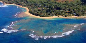 空中から撮影した海岸
